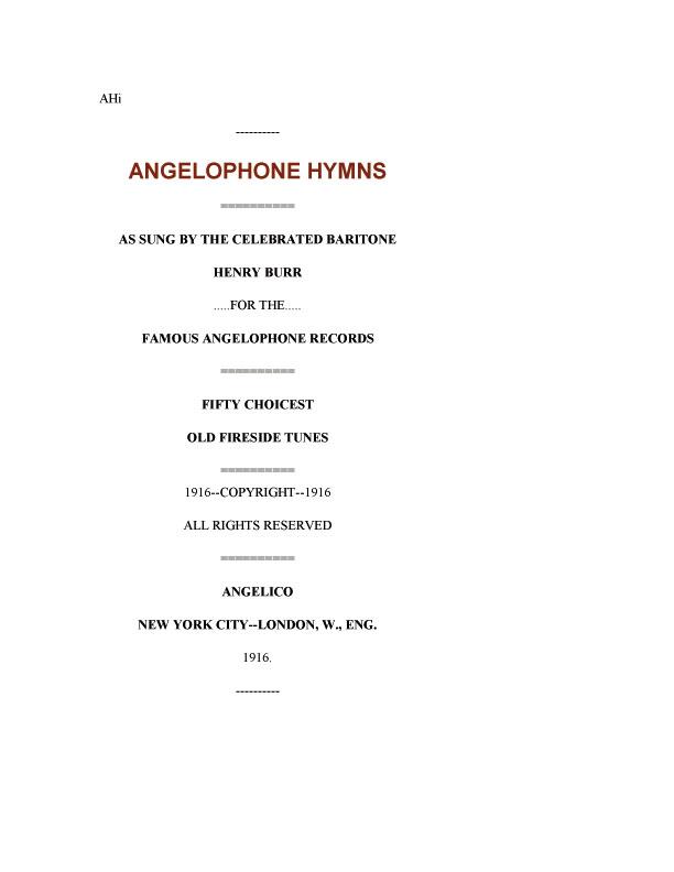 Angelophone Hymns
